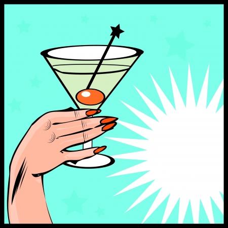 glas kunst: Vintage achtergrond Coctail met de hand - pop art comic stijl