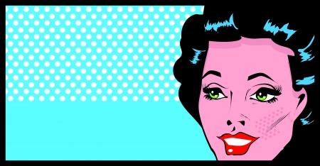 Cara recortada mujer del arte pop cómico cartel con los ojos bien abiertos Vectores