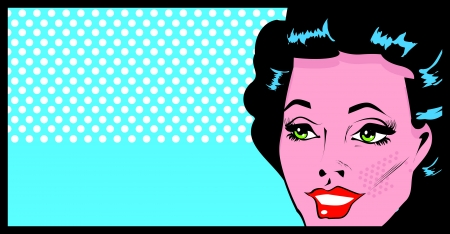 Cropped woman face pop art comic banner with Eyes Wide open  Vector