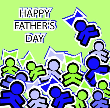 Sticky boys and girls note on Happy Fathers Day card Vector