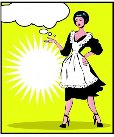 Femme au foyer utiles - Rétro Clip Art dans le style vintage popart