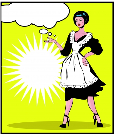 vintage woman: Helpful Housewife - Retro Clip Art in popart vintage style