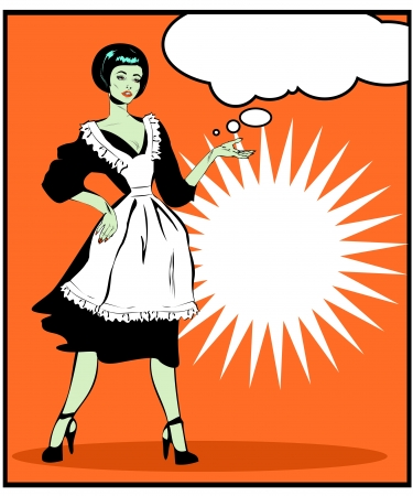 Helpful Housewife - Retro Clip Art in popart vintage style Stock Vector - 15770949