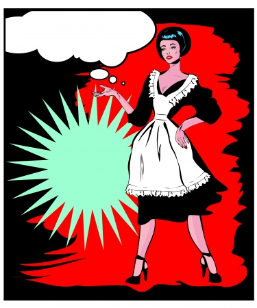 Helpful Housewife - Retro Clip Art in popart vintage style Stock Vector - 15770957