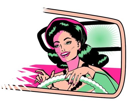 reise retro: Weibliche Autofahrer - Retro Clip Art Sammlung Comic-Stil