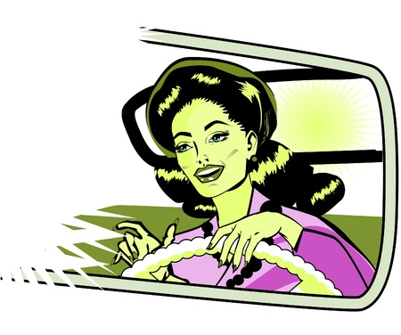 motorist: Female Motorist - Retro Clip Art collection comics style Illustration