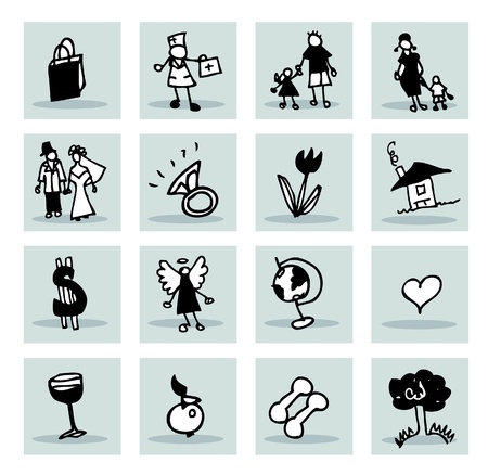 doctor money: abstract icons set : family, business, medical, nature Illustration