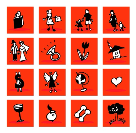 abstract icons set : family, business, medical, nature Illustration