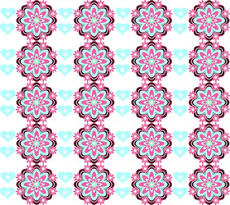 Vector flower background with hearts seamless love pattern Stock Vector - 15771023