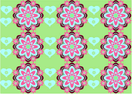Vector flower background with hearts seamless love pattern Stock Vector - 15770894