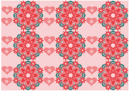 Vector flower background with hearts seamless love pattern Stock Vector - 15770895