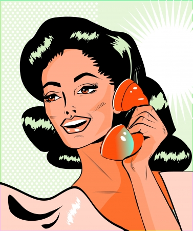 Lady Chatting On The Phone - Retro Clip Art Vector Illustration