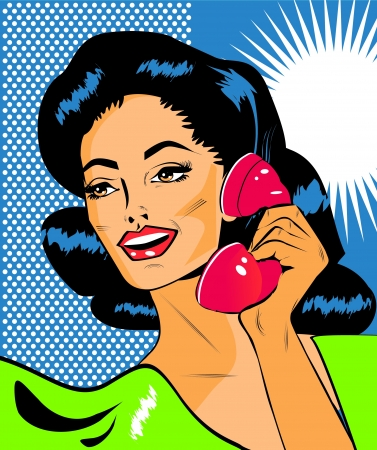 Lady Chatting On The Phone - Retro Clip Art  Vector
