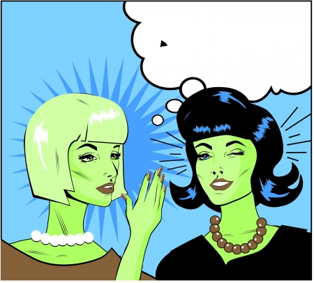 rumor: informer Clipart Illustration of Two Gossiping Retro Women banner