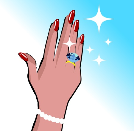 Female hand with wedding ring love background in pop art comic style Illustration