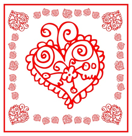 floral heart card flower and love icon Postcard with heart and flowers Stock Vector - 15771019
