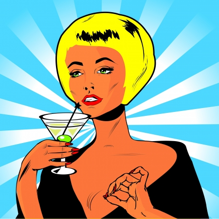 Martini Toast - Retro Clip Art  Illustration