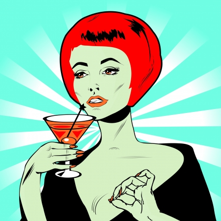 Martini Toast - Retro Clip Art  Vector