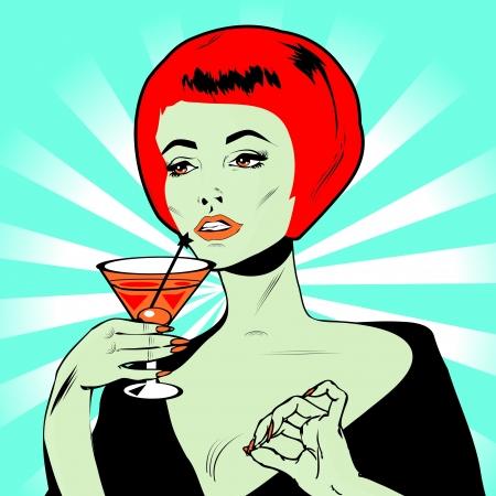 Martini Toast - Retro Clip Art  Illustration