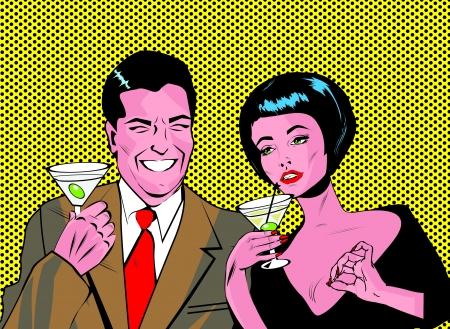 vintage look: Coppia Con Cocktail Tostatura - Clip Art Retro