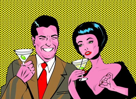 booze: Couple With Cocktails Toasting - Retro Clip Art  Illustration