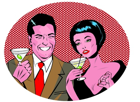 gals: Couple With Cocktails Toasting - Retro Clip Art  Illustration