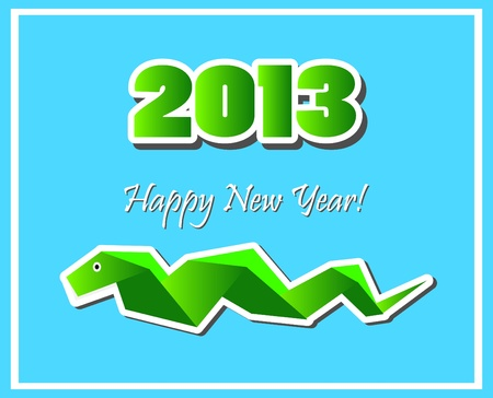snake origami: New Years Eve greeting card  Illustration