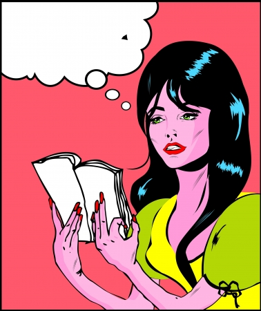 hopeless: Woman cry and reading pop art comic collection Sad young woman reading book  Illustration