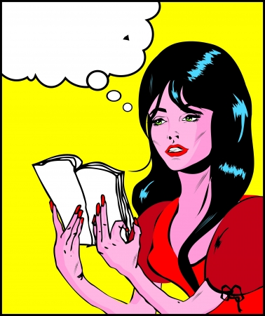 Pop art comic 1 Love Vector illustration of  woman face reading book