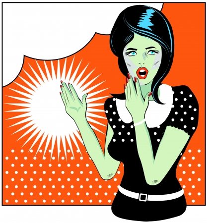 Pop art comic 1 Love Vector illustration of surprised woman face Vector