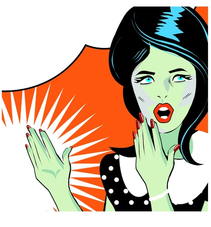 Pop art comic 1 Love Vector illustration of surprised woman face Stock Vector - 15770833