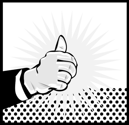 Thumb Up Retro business icon illustration pop art style Vector