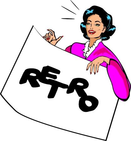 Showcard Girl Vintage Retro Clip Art Stock Vector - 15770908