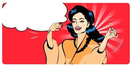 Presentation Lady - Retro Clipart Illustration popart comics style Stock Vector - 15770862