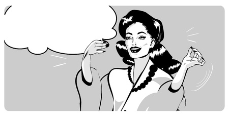 Presentatie Lady - Retro Clipart Illustratie Popart comics stijl Vector Illustratie