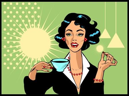 retro housewife: Woman drinking coffee