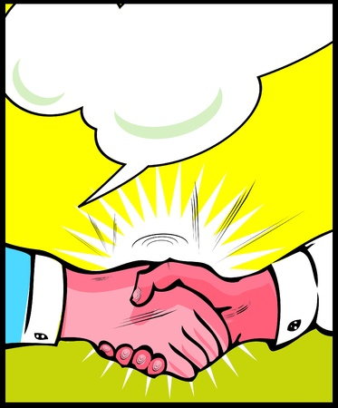 Vintage Pop art handshake background Stock Vector - 15770905