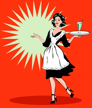 50s: Comic Sexy Server - Retro Clip Art from big collection pop art