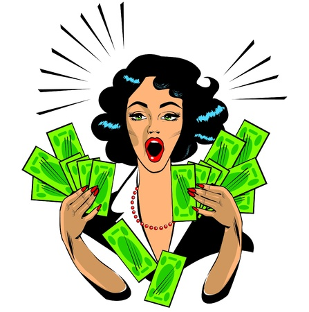 spending:  Clipart Illustration of a Retro Woman Holding Handfulls Of Cash and shocked