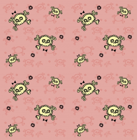 skulls seamless pattern  Lots of sculls with comic texture, graphic stylized  silhouettes, vector background Stock Vector - 15771036