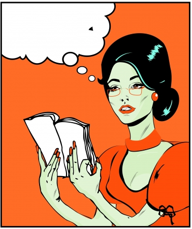 Teacher or business woman Illustration of a woman reading in a pop art comic style  Vector