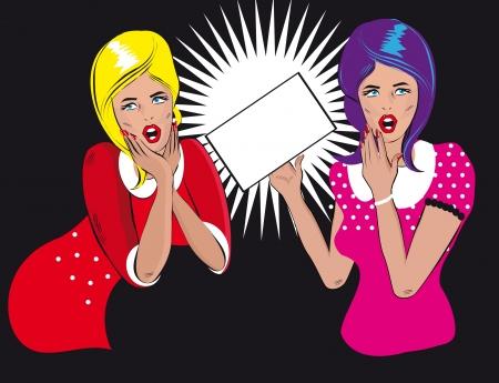 deux personnes qui parlent: Deux personnes qui parlent femme titulaire d'un r�tro fond blanc pop art les femmes de style bandes dessin�es dit, femme �coutant les ragots