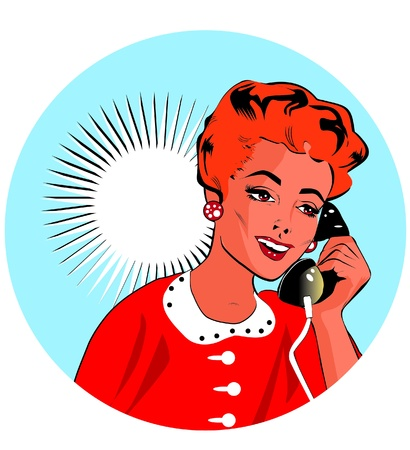 chatting: Lady Chatting On The Phone - Pop Art Illustration
