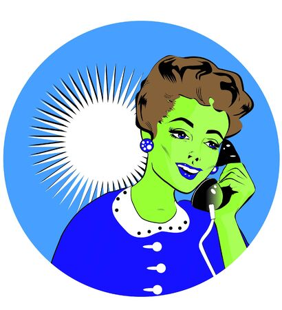Lady Chatting On The Phone - Pop Art Stock Vector - 15770972