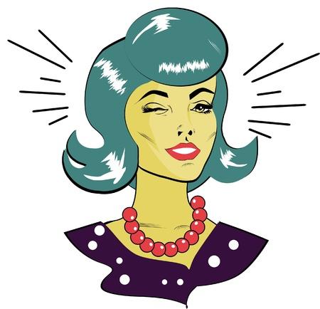 Retro Woman Winking - Retro Clip Art Stock Vector - 15770952
