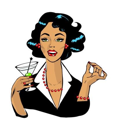 Mujer bebiendo martini o un cóctel retro vintage clipart