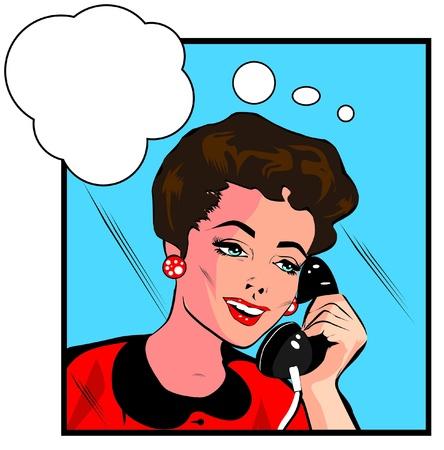 black lady talking: Estilo Comics ni�a mujer hablando por tel�fono