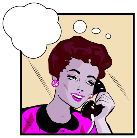 head phones: Comics style girl woman talking  by phone
