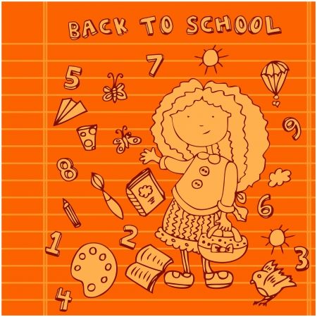 School girl background. Cartoon icons set Stock Photo - 18452653