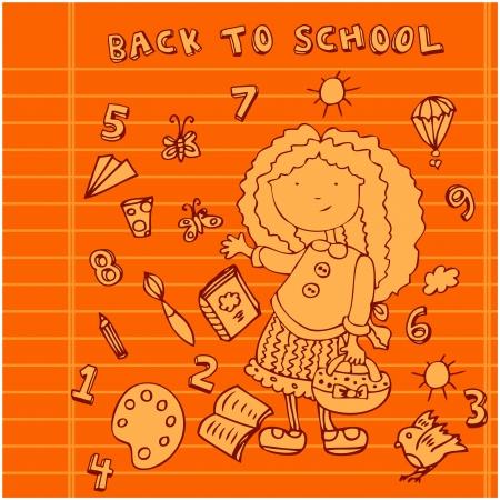 School girl background. Cartoon icons set Stock Photo - 18452653